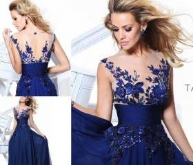 Blue Dress Long Wedding Applique Evening Prom Dresses Gown Cocktail Party Formal