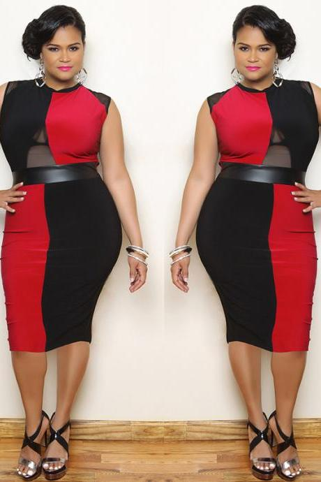 Plus size Black Red Bodycon Dresses sleeveless round neck Tempting Evening Pencil Dress gored skirt