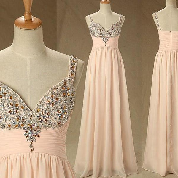 Long Flesh Pink Dresses Deep V-Neck Beaded Crystal Sexy Back Women Prom Dresses Party Formal Gown Evening Dresses 2015